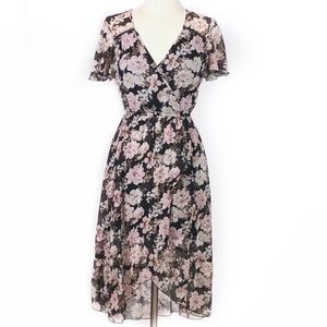 Band of Gypsies Small, Black Floral High Low Dress